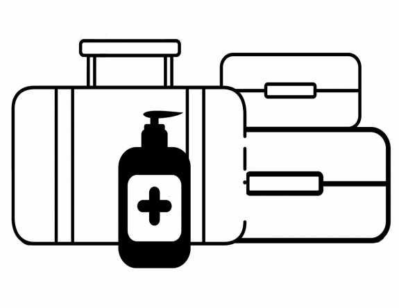 Illustration of suitcases disinfected